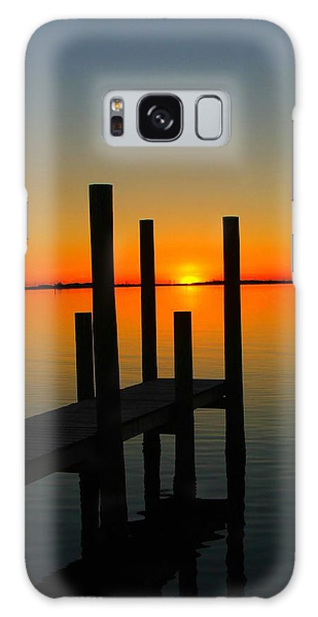 Sunset Galaxy Case featuring the photograph At The Pier by Judy Waller