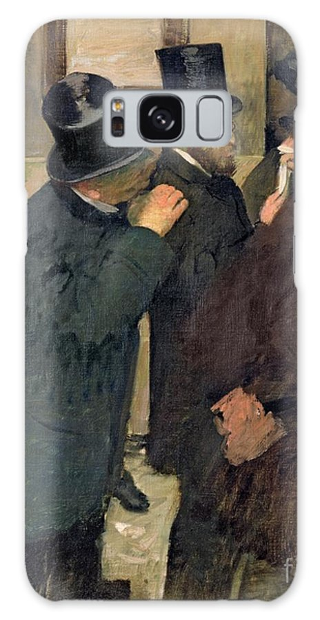 At The Stock Exchange Galaxy Case featuring the painting At The Stock Exchange by Edgar Degas
