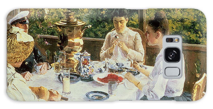 The Galaxy S8 Case featuring the painting At The Tea-table by Konstantin Alekseevich Korovin