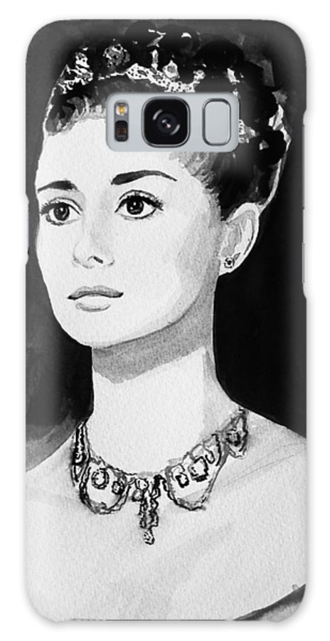 Audrey Hepburn Galaxy Case featuring the painting Audrey by Laura Rispoli