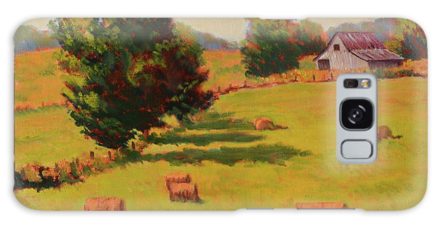 Impressionism Galaxy S8 Case featuring the painting August Hay Field by Keith Burgess