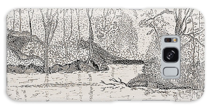 River Galaxy Case featuring the drawing Ausable River At Rock Glen by Peggy King