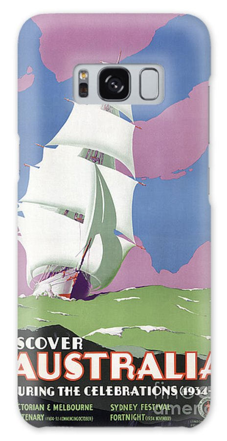 Vintage Galaxy S8 Case featuring the painting Australia Vintage Travel Poster Restored by Carsten Reisinger