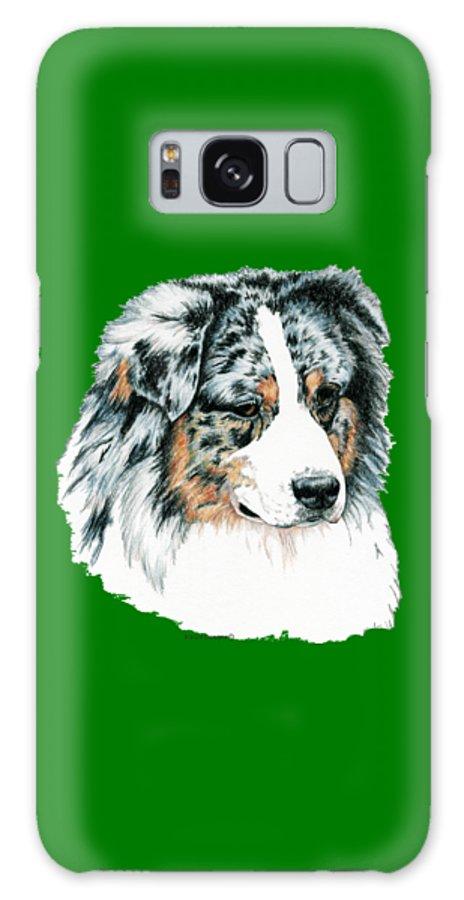 Aussie Galaxy Case featuring the drawing Australian Shepherd, Blue Merle by Kathleen Sepulveda