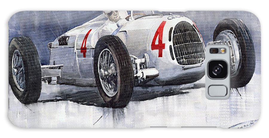 Auto Galaxy S8 Case featuring the painting Auto Union C Type 1937 Monaco Gp Hans Stuck by Yuriy Shevchuk