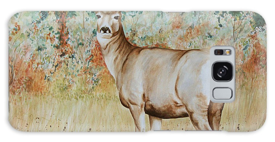 Wildlife Galaxy Case featuring the painting Autumn Beauty- Mule Deer Doe by Elaine Booth-Kallweit