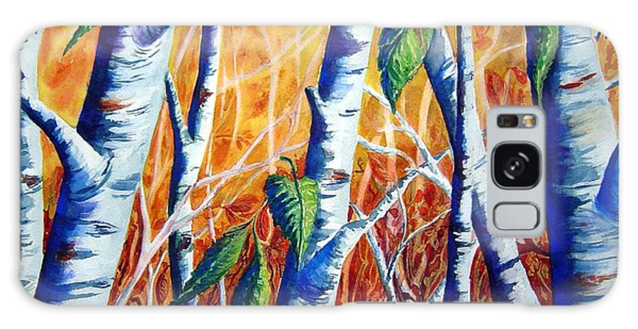 Autumn Birch Trees Galaxy S8 Case featuring the painting Autumn Birch by Joanne Smoley