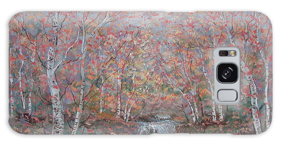 Landscape Galaxy Case featuring the painting Autumn Birch Trees. by Leonard Holland