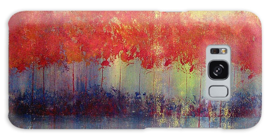 Abstract Galaxy Case featuring the painting Autumn Bleed by Ruth Palmer