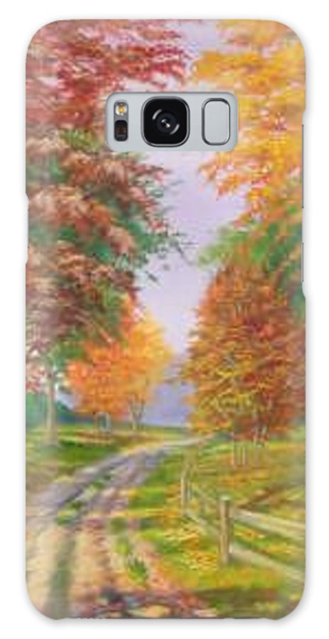 Fall Scene Galaxy S8 Case featuring the painting Autumn Drive by Tan Nguyen