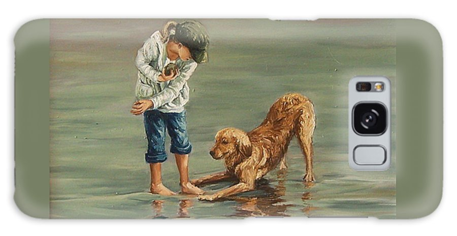 Girl Kid Child Figurative Dog Sea Reflection Playing Water Beach Galaxy Case featuring the painting Autumn Eve by Natalia Tejera