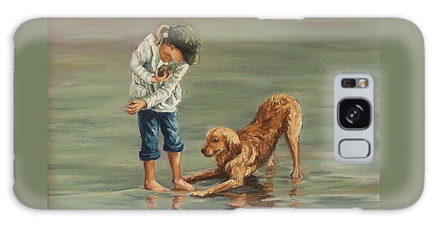 Girl Kid Child Figurative Dog Sea Reflection Playing Water Beach Galaxy S8 Case featuring the painting Autumn Eve by Natalia Tejera
