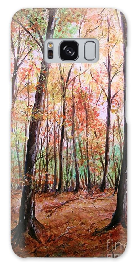 Landscape Galaxy S8 Case featuring the painting Autumn Forrest by Lizzy Forrester
