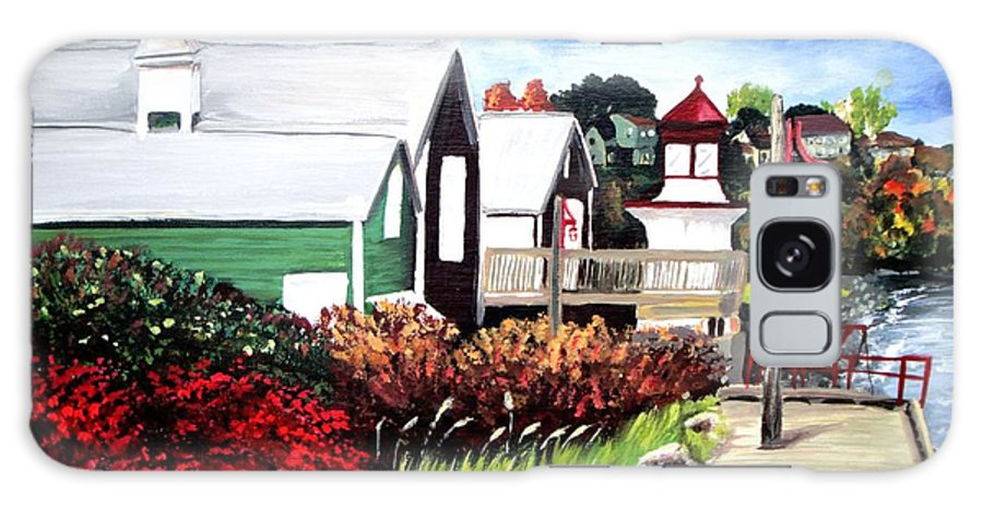 Lighthouse Galaxy S8 Case featuring the painting Autumn Lighthouse Miramichi New Brunswick Canada by Patricia L Davidson