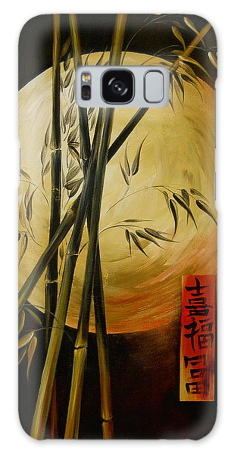 Asian Moon Bamboo Galaxy Case featuring the painting Autumn Moon by Dina Dargo