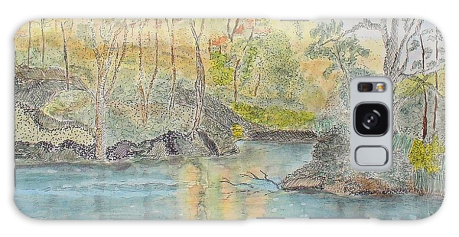 Watercolour Galaxy Case featuring the painting Autumn On The Ausable River by Peggy King