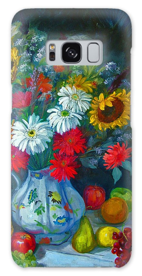 Fruit And Many Colored Flowers In Masson Ironstone Pitcher. A Large Still Life. Galaxy Case featuring the painting Autumn Picnic by Nancy Paris Pruden