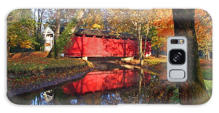 Covered Bridge Galaxy Case featuring the photograph Autumn Sunrise Bridge II by Margie Wildblood