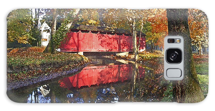 Covered Bridge Galaxy Case featuring the photograph Autumn Sunrise Bridge by Margie Wildblood