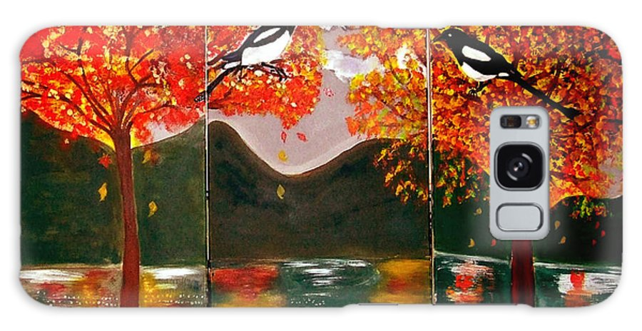 Landscape Galaxy S8 Case featuring the painting Autumn Trilogy by Rusty Gladdish