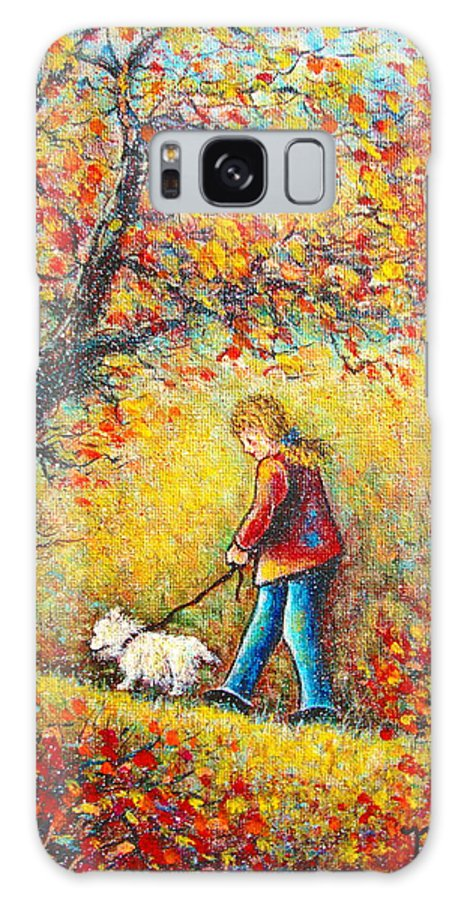 Landscape Galaxy S8 Case featuring the painting Autumn Walk by Natalie Holland