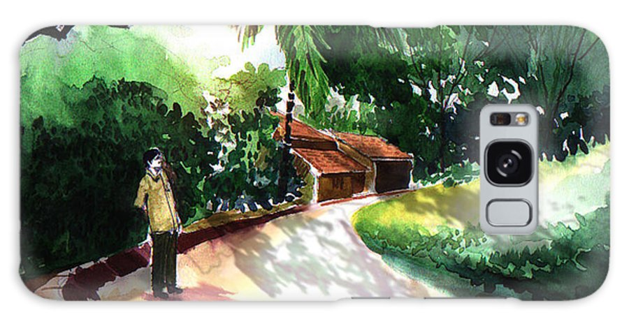 Water Color Watercolor Landscape Greenery Galaxy Case featuring the painting Awe by Anil Nene