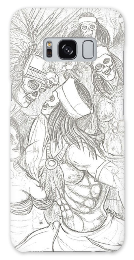 Aztec Galaxy S8 Case featuring the drawing Aztec Warriors With Female by Americo Salazar