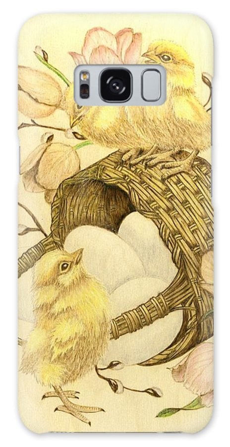 Chicks Galaxy S8 Case featuring the pyrography Baby Chicks by Danette Smith