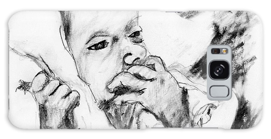 Pencil Sketch Galaxy S8 Case featuring the drawing Baby Concern by Ron Bissett