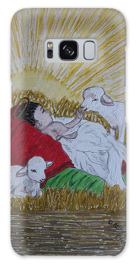 Saviour Galaxy Case featuring the painting Baby Jesus At Birth by Kathy Marrs Chandler