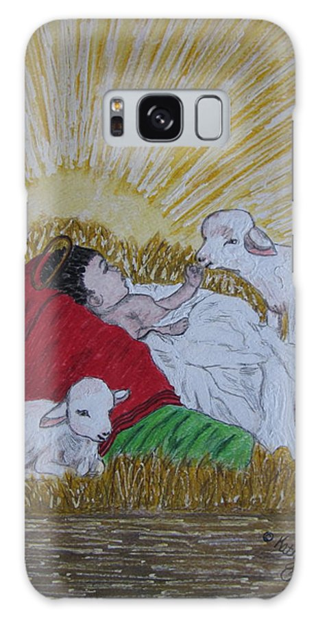 Saviour Galaxy S8 Case featuring the painting Baby Jesus At Birth by Kathy Marrs Chandler