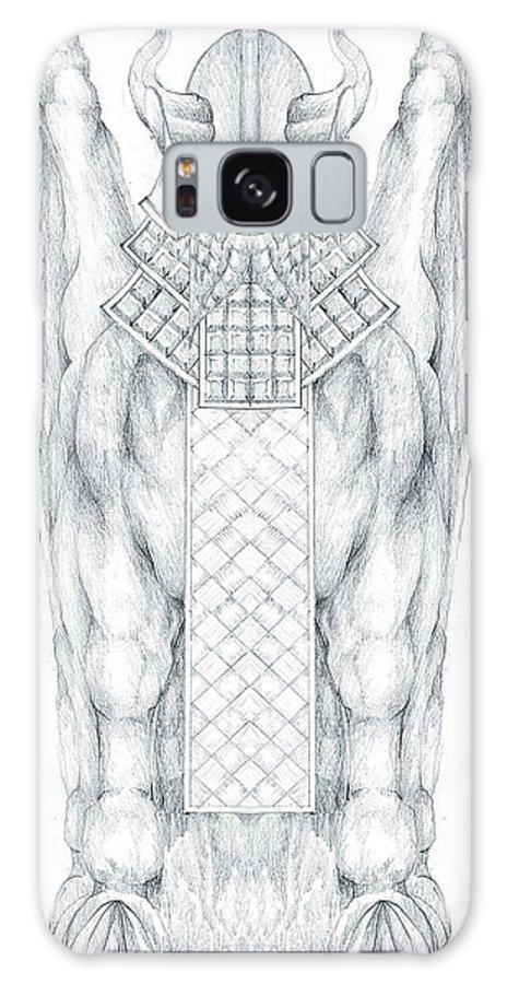 Babylonian Galaxy Case featuring the drawing Babylonian Sphinx Lamassu by Curtiss Shaffer