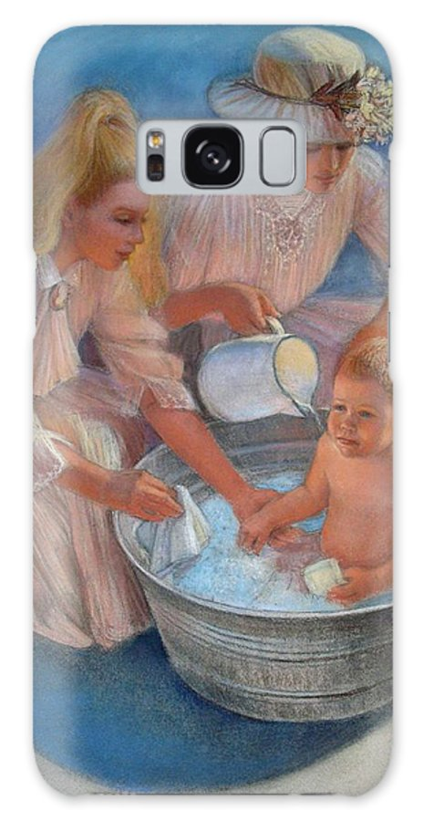 Nostalgic Galaxy S8 Case featuring the painting Baby's Summer Bath by Sue Halstenberg