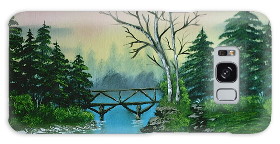 Landscape Galaxy S8 Case featuring the painting Back Woods Bridge by Jim Saltis
