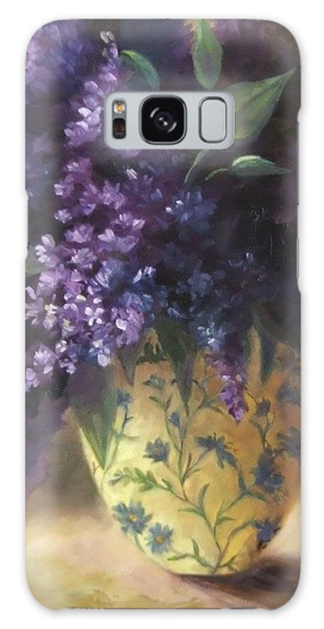 Lilac Still Life Galaxy S8 Case featuring the painting Backlit Bouquet by Ruth Stromswold
