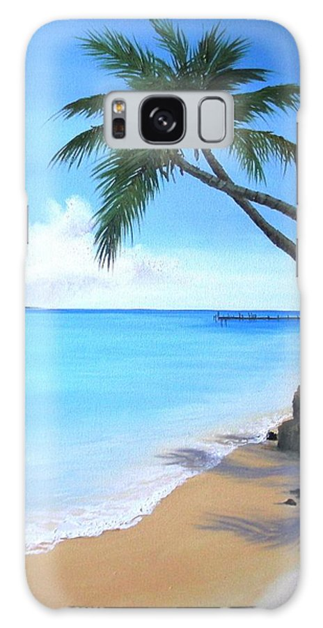 Beach Galaxy S8 Case featuring the painting Bahamian Twin Palms by Maria Mills