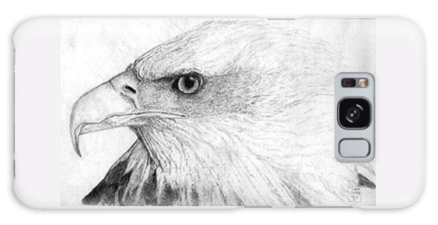 Pencil Drawing Galaxy S8 Case featuring the drawing Bald Eagle Profile by Lucien Van Oosten