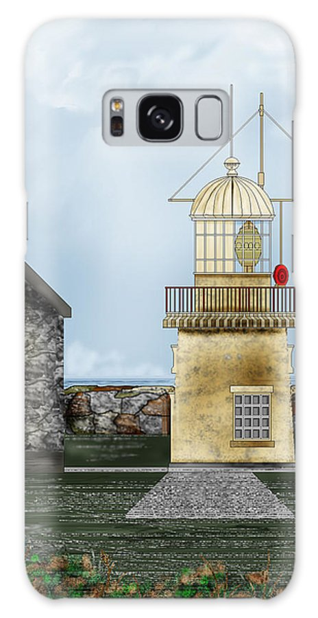 Lighthouse Galaxy S8 Case featuring the painting Ballinacourty Lighthouse At Waterford Ireland by Anne Norskog
