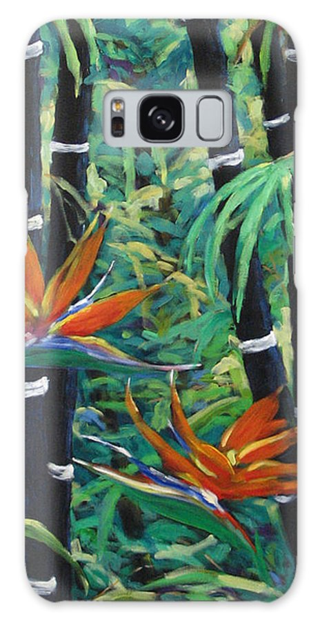 Bamboo Galaxy Case featuring the painting Bamboo And Birds Of Paradise by Richard T Pranke