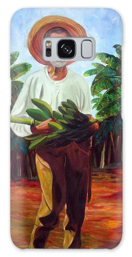 Cuban Art Galaxy Case featuring the painting Banana Farmer by Jose Manuel Abraham
