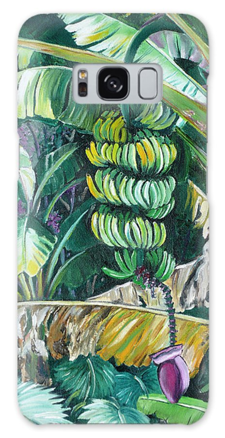 Caribbean Painting Bananas Trees P Painting Fruit Painting Tropical Painting Galaxy S8 Case featuring the painting Bananas by Karin Dawn Kelshall- Best