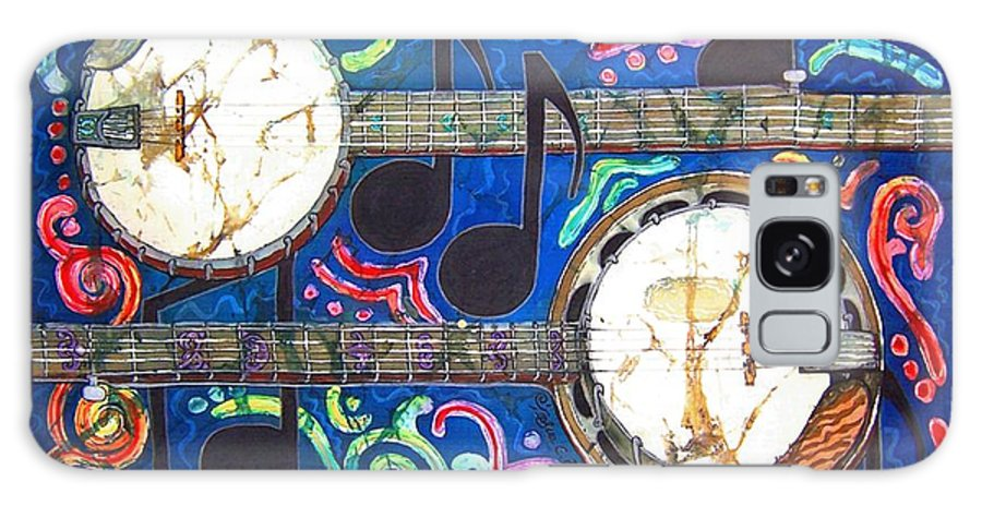 Banjo Galaxy Case featuring the painting Banjos - Bordered by Sue Duda