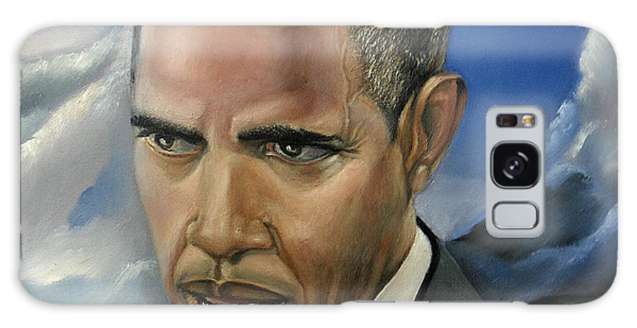 President Of The Usa Galaxy Case featuring the painting Barack by Reggie Duffie