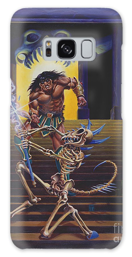 Fantasy Galaxy S8 Case featuring the painting Barbarian And Skeleton Wizard by Melissa A Benson