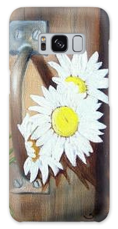 Rustic Barn Door With Metal Latch And Three White Daisies Galaxy S8 Case featuring the painting Barn Door Daisies Sold by Susan Dehlinger
