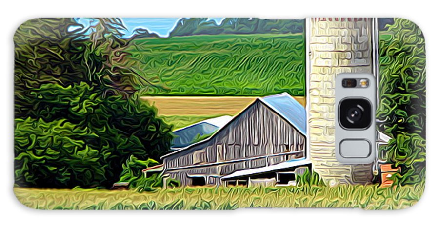 Barn Silo And Crops In Nys Expressionistic Galaxy S8 Case featuring the photograph Barn Silo And Crops In Nys Expressionistic Effect by Rose Santuci-Sofranko