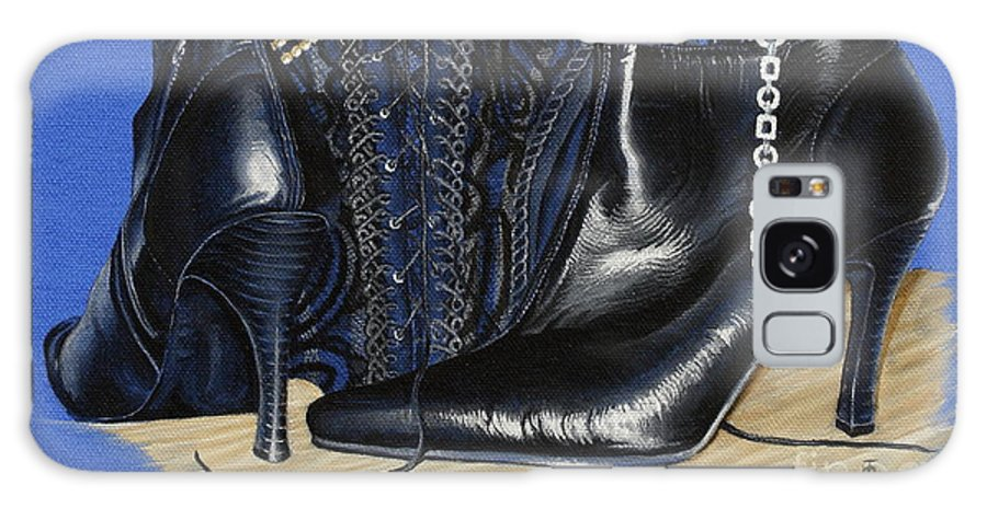 Baroque Still Life Boots Pearls Basque Bracelet Velvet Lace Black Heels Galaxy S8 Case featuring the painting Baroque Still Life by Pauline Sharp