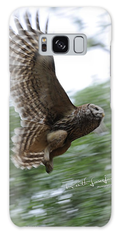 Owl Galaxy S8 Case featuring the photograph Barred Owl Taking Flight by Keith Lovejoy