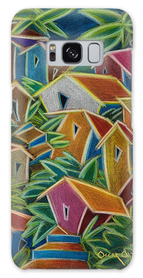 Landscape Galaxy Case featuring the painting Barrio Lindo by Oscar Ortiz