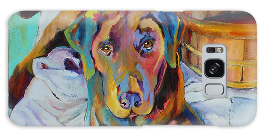 Chocolate Lab Galaxy Case featuring the painting Basket Retriever by Pat Saunders-White